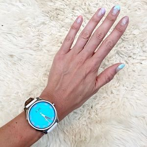 DYCE White Leather Band &Blue Oversized Face Watch